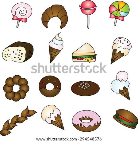 Set  sweets and candies icons.