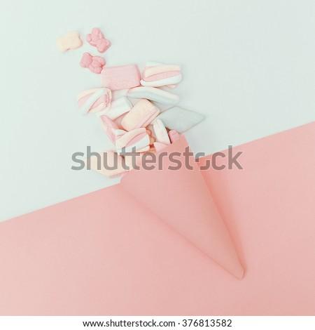 Set sweets. Vanilla color. Minimalism Fashion - stock photo