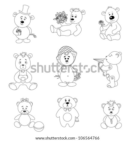 Set teddy bears with holiday greeting objects and toys, black contour on white background. Vector illustration