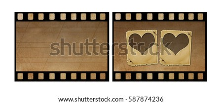 Set the old paper slides for photos on rusty abstract background