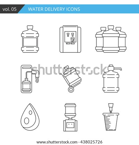 Set thin line water delivery icon isolated on white background,