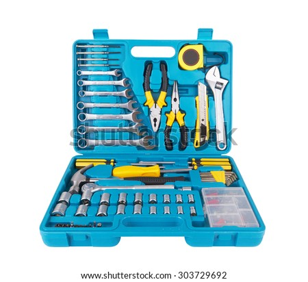 set tools isolated on a white background - stock photo