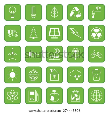Set twenty five flat colored icons Ecology and Environment/Set of flat icons Ecology and Environment/Set twenty five flat colored icons