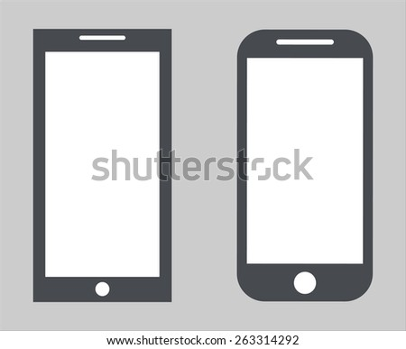 Set 2. Variety of modern black icon silhouette smartphone mobile tablet pc with blank screen isolated on white background. illustration  - stock photo