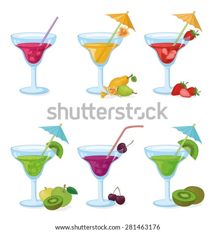 Set Vases and Glass with Drinks, Juice, Fruits and Berries - stock photo