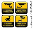 Set Warning Stickers for Security Alarm CCTV Camera Surveillance - stock vector