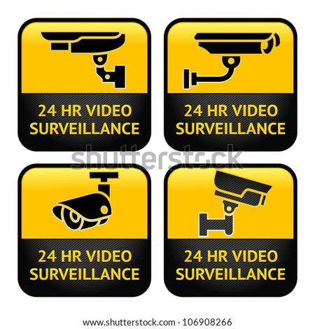 Set Warning Stickers for Security Alarm CCTV Camera Surveillance - stock photo