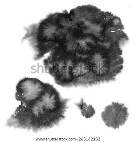 Set watercolor blobs, isolated on white background. Shape design blank watercolor colored rounded shapes web buttons on white background. - stock photo