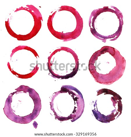 Set watercolor blobs, isolated on white background. Shape design blank watercolor colored rounded shapes web buttons on white background. Purple, violet, pink, red