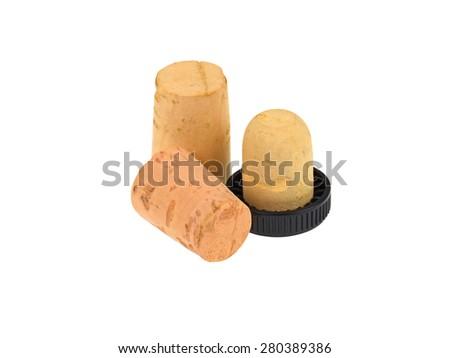 set wine corks isolated on white background - stock photo
