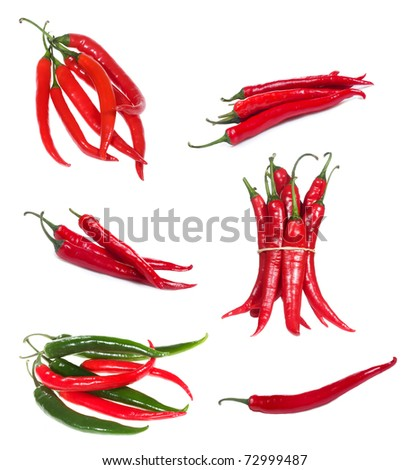 set with chili pepper on white background - stock photo