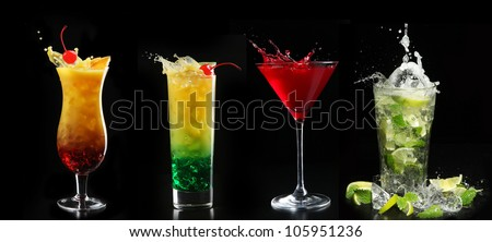 set with different cocktails on black background - stock photo