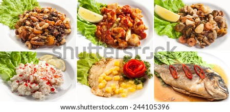 set with different dishes on white background - stock photo