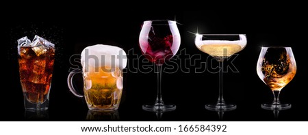 set with different drinks on black background - champagne, beer, cocktail, wine, brandy, whiskey, scotch, vodka, cognac - stock photo