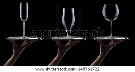 set with different empty glasses on black background - beer,champagne,cocktail,wine