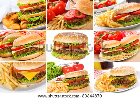 set with hamburgers - stock photo
