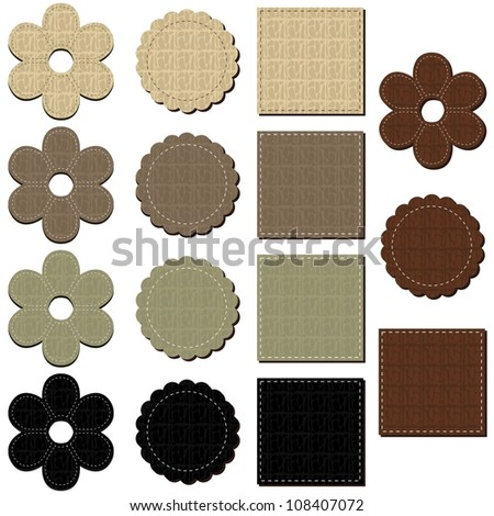set with leather scrapbook objects - stock photo
