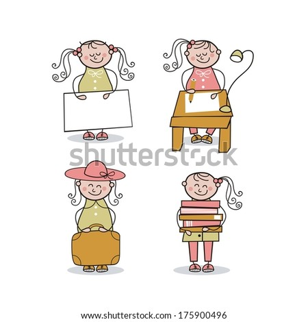 Set with little girl in various activities