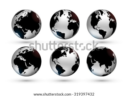 Set with metallic world globe in different foreshortening. Can be used for infographic for showing world statistics. Raster version