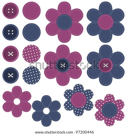 set with scrapbook flowers and buttons - stock photo