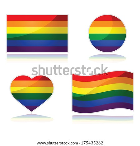 Set with the rainbow flag of the LGBT movement in different shapes - stock photo