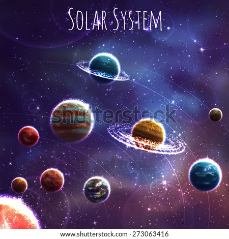 Set with three Solar System planets. - stock photo