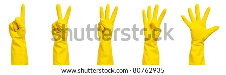 Set - woman hand in yellow glove making sign - isolated on white background - stock photo