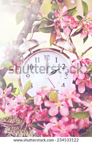 Set your clocks back in spring with this whimsical image of a clock surrounded by spring flowers set to 2 o clock. Extreme shallow depth of field with selective focus on clock. - stock photo