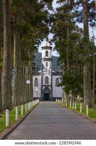 Sete Cidades Church, Island of Sao Miguel, Archipelago of the Azores, Portugal, Europe - stock photo