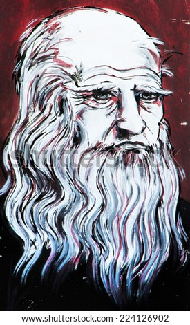 SETE, FRANCE  - SEPTEMBER 21, 2014: Graffiti portrait of   Leo Tolstoy (Lev Tolstoy) the famous Russian write,  on the wall of Sete, south of France. - stock photo