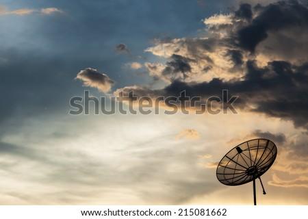 setelite dish sky - stock photo