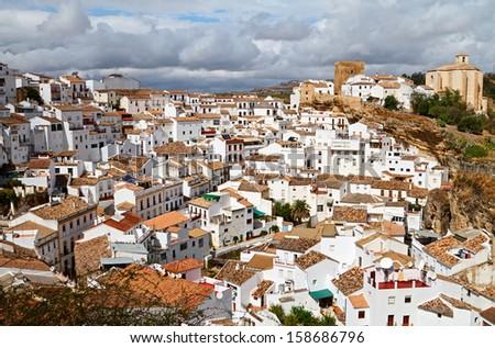 Setenil de las Bodegas is a white town in the province of Cadiz, Andalusia, Spain. - stock photo