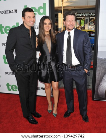 """Seth McFarlane (left), Mila Kunis & Mark Wahlberg at the world premiere of their movie """"Ted"""" at Grauman's Chinese Theatre, Hollywood. June 22, 2012  Los Angeles, CA Picture: Paul Smith / Featureflash - stock photo"""
