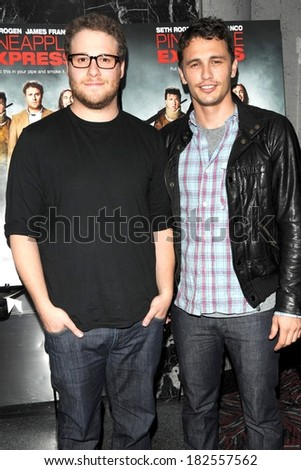 Seth Rogen, James Franco at PINEAPPLE EXPRESS Special Screening, AMC Loews 19th Street East 6 Theater, New York, NY, August 05, 2008 - stock photo