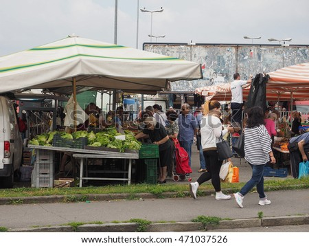 SETTIMO TORINESE, ITALY - CIRCA JUNE 2016: Fresh fruits and vegetables marketplace