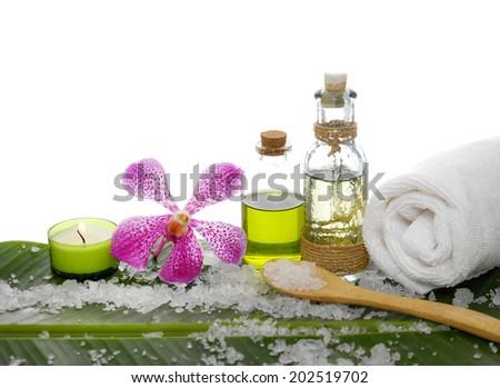 Setting health spa and banana leaf - stock photo