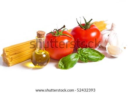 Setting pasta with tomato - stock photo