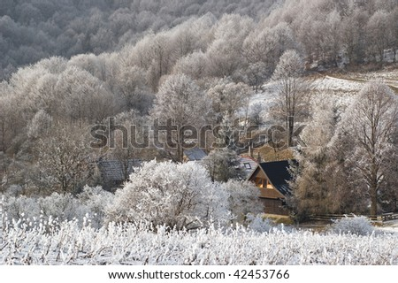 settlement high in mountains, winter