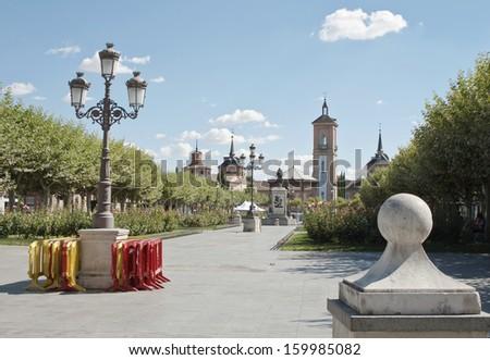Sevantes square in Alcala de Henares, Madrid - stock photo