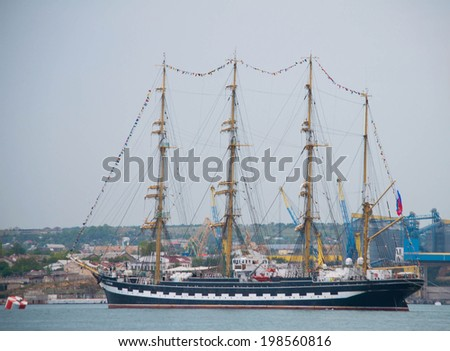 SEVASTOPOL, RUSSIA - MAY 09: Celebrating the 69th anniversary of the Victory Day and 70th anniversary of Sevastopol liberation from fascists. Sevastopol 2014. Sailing ship Kruzenshtern