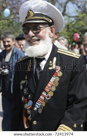 SEVASTOPOL, UKRAINE - MAY 9: Unidentified navy officer on military parade in honor of victory in second world war on May 9, 2009 in Sevastopol, Ukraine