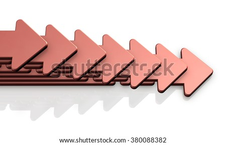 Seven arrows proceeding to the right. It will represent the progress of the project. - stock photo
