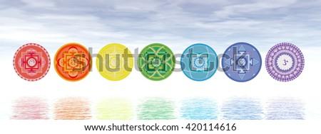 Seven chakra symbols line - 3D render - stock photo