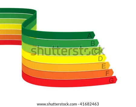 Seven color bands of energy classification on a white background - stock photo