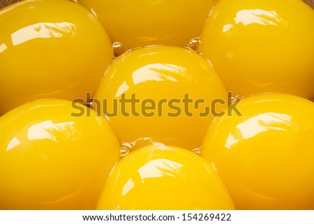 Seven egg yolks, close up - stock photo