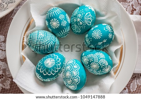 Seven Emerald Easter Eggs In A Plate. Close Up, Soft Focus, Painted With