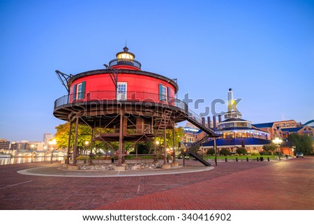 Seven Foot Knoll Lighthouse in Inner Harbor Baltimore, Maryland. - stock photo