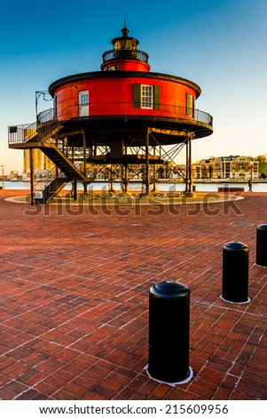 Seven Foot Knoll Lighthouse in the Inner Harbor, Baltimore, Maryland. - stock photo