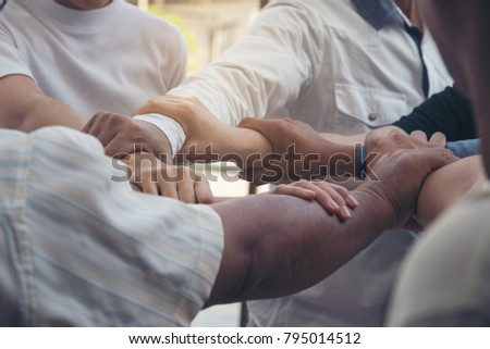 Seven Hands Hold Together Like Square Stock Photo Royalty Free