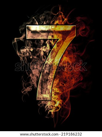 seven, illustration of  number with chrome effects and red fire on black background - stock photo